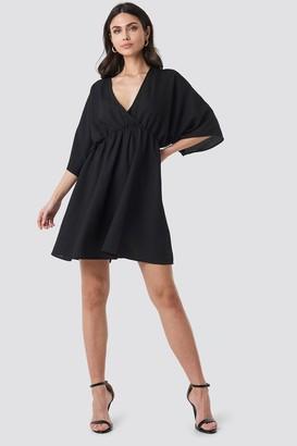 NA-KD Dolman Sleeve Wrap Front Dress Black