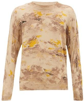 Rochas Painted-cotton Sweater - Beige Multi
