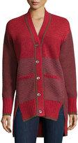 Prabal Gurung Long-Sleeve Split-Hem Cardigan, Red