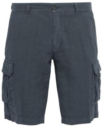 Once Milano - Crushed Linen-poplin Cargo Shorts - Mens - Blue