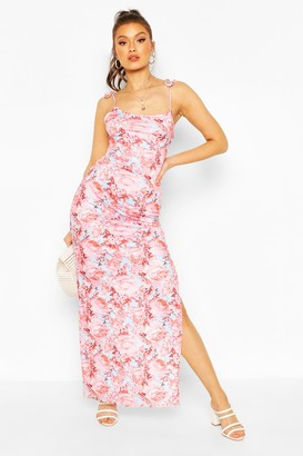 boohoo Tie Strappy Floral Printed Maxi Dress