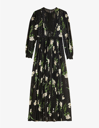 Ted Baker Deenha Elderflower-print lace-trimmed crepe maxi dress