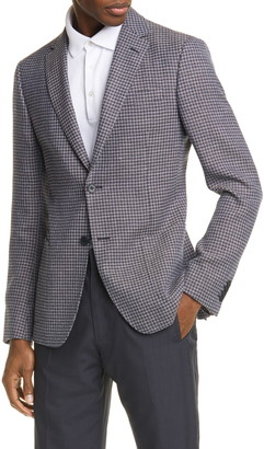 Ermenegildo Zegna Trim Fit Houndstooth Wool & Linen Sport Coat