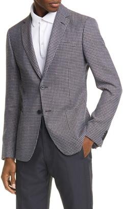 Ermenegildo Zegna Trim Fit Houndstooth Wool & Linen Sport Coat