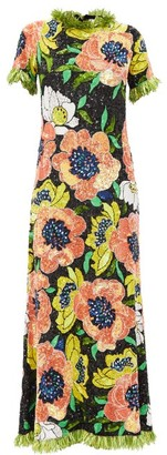 Ashish Floral Sequinned Maxi Dress - Multi