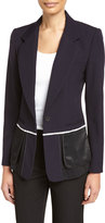 DKNY Wool & Satin Fringe Blazer, Navy