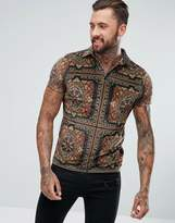 Asos Polo In All Over Paisley Print Velour With Revere Collar