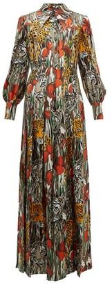 Gucci Animal-print Silk Shirt Dress - Womens - Orange Multi