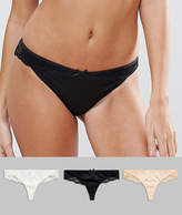Asos Microfibre & Pretty Lace Thong 3 Pack
