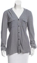 Tibi Striped Button-Up Top