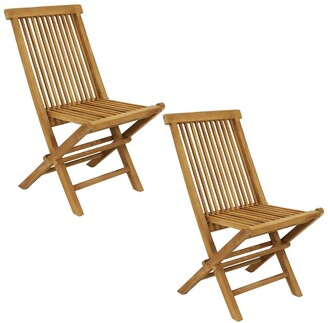 Sunnydaze Hyannis Teak Outdoor Folding Patio Chair With Slat Back