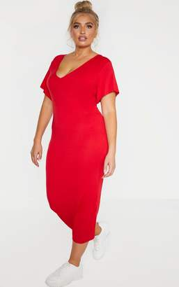 PrettyLittleThing Plus Red Jersey V Neck T-Shirt Midi Dress