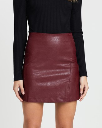 Atmos & Here Atmos&Here - Women's Purple Leather skirts - Elora PU Mini Skirt - Size 6 at The Iconic