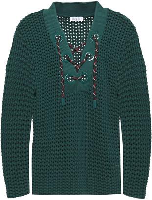 Claudie Pierlot Lace-up Open-knit Cotton-blend Sweater