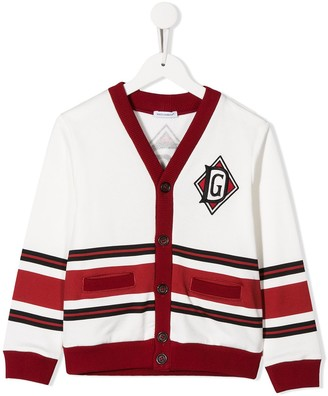 Dolce & Gabbana Kids DG patch striped cardigan