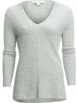 White + Warren Directional Rib V-Neck Sweater - Women's