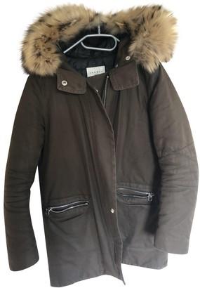 Sandro Khaki Cotton Coat for Women
