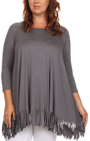 Canari Charcoal Fringe-Trim Swing Tunic - Plus