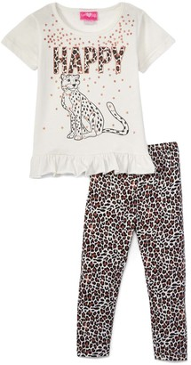 Off-White Girls Luv Pink Girls' Leggings off 'Happy' Glitter Ruffle-Hem Top & Leopard Leggings - Toddler & Girls