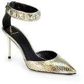 B Brian Atwood Mercada Metallic Snakeskin Ankle-Strap Pumps