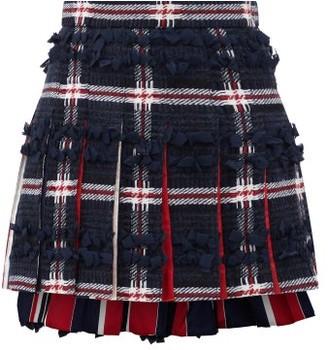 Thom Browne Ribbon-trimmed Tartan Wool-blend Mini Skirt - Navy Multi
