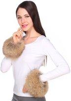 Ferand Women's Flurry Real Raccoon Fur Bracelet Cuffs for Winter Coat Jacket