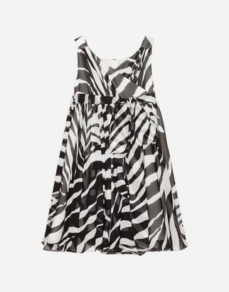 Dolce & Gabbana Midi Dress In Stretch Georgette With Zebra Print