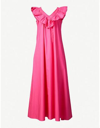 Paper London Ruffled-trim cotton-poplin maxi dress