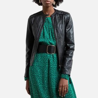 Naf Naf Leather Zip-Up Jacket with Side Pockets