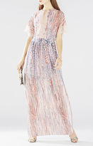 BCBGMAXAZRIA Christelle Printed Bell-Sleeve Gown