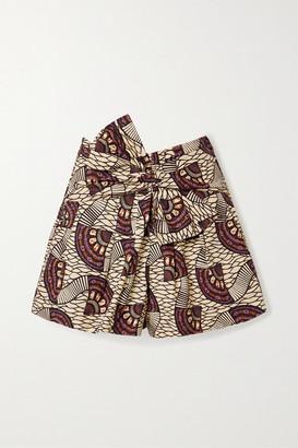 Ulla Johnson Paloma Tie-front Printed Cotton-poplin Shorts - Brown