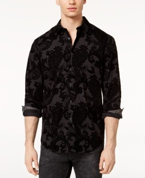 INC International Concepts Inc Men's Flocked Paisley Shirt, Created for Macy's