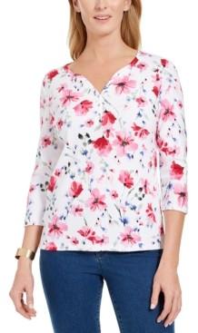 Karen Scott Petite Floral-Print Henley Top, Created for Macy's