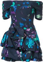 Ungaro printed frill drape mini dress