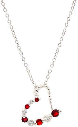 clear SPARKLE ALLURE Sparkle Allure Red And Half Heart Pendant Womens Lab Created Red Cubic Zirconia Pure Silver Over Brass Heart Pendant Necklace