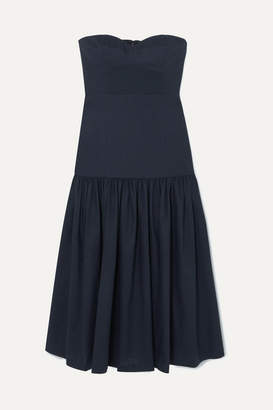 Veronica Beard Fiore Strapless Linen-blend Midi Dress - Navy
