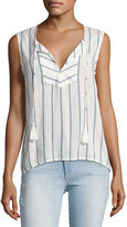 Joe's Jeans Kiera Striped Cotton Blouse, White