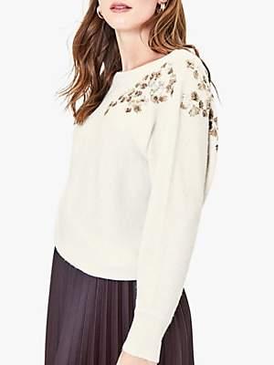 Oasis Embellished Knit Jumper, Off White