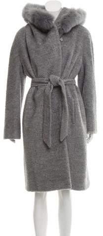 Max Mara Fox Fur-Trimmed Long Coat