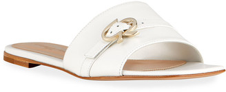 Gianvito Rossi Medallion Strap Flat Slide Sandals