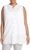 Eileen Fisher Organic Cotton Mandarin Collar Sleeveless Tunic (Plus Size)
