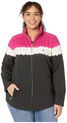 Lauren Ralph Lauren Plus Size Cotton-Blend Mock Neck Jacket (Bright Fuchsia Multi) Women's Clothing