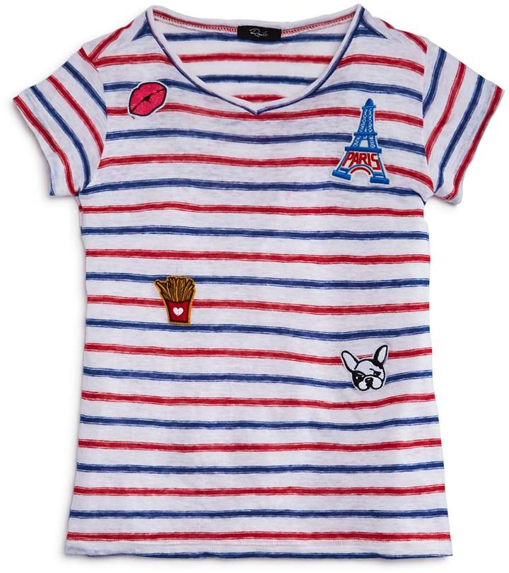 Rails Girls' Frenchie Striped Patch Tee