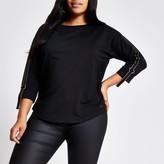 River Island Womens Plus Black metallic tape long sleeve T-shirt