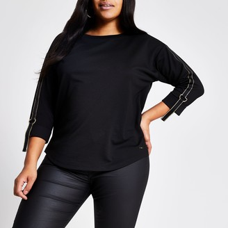 River Island Womens Plus Black metallic tape long sleeve T-shirt