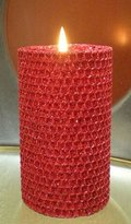 Gold Rush 120 Hour-7.5 Inch By 3.5 Inch Natural Beeswax Hybrid Pillar Glitter Candle, Ruby Red Color