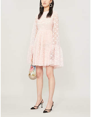 Huishan Zhang Amelia Cape-Panel Lace Mini Dress
