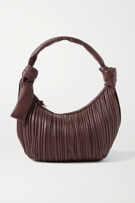Neous Neptune Knotted Pleated Leather Shoulder Bag - Chocolate