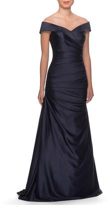 La Femme Off-the-Shoulder Ruched Satin Gown