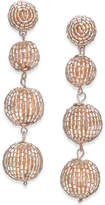INC International Concepts Rose Gold-Tone Beaded Orb Linear Drop Earrings, Created for Macy's